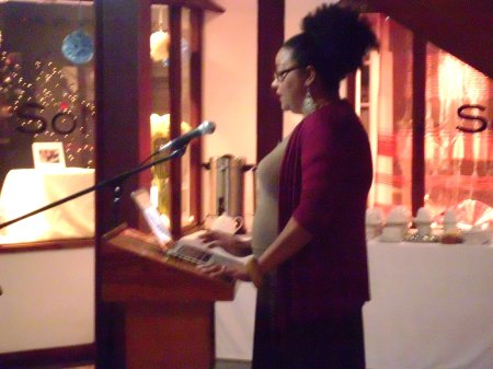 Lisa Allen-Agostini shares from one of her unpublished short fiction pieces, bringing the evening's readings to a close.